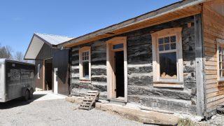 Log house with cedar trim